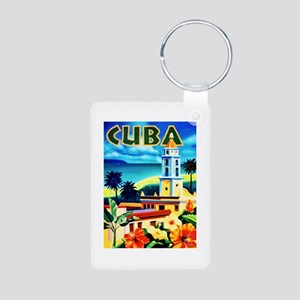 Cuba Travel Poster 6 Aluminum Photo Keychain
