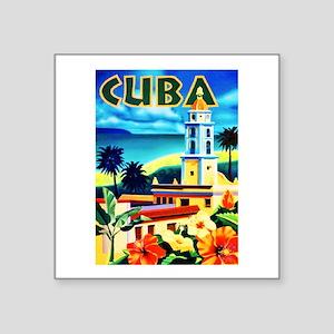 """Cuba Travel Poster 6 Square Sticker 3"""" x 3"""""""