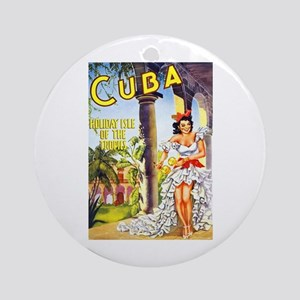 Cuba Travel Poster 1 Ornament (Round)