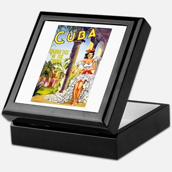 Cuba Travel Poster 1 Keepsake Box