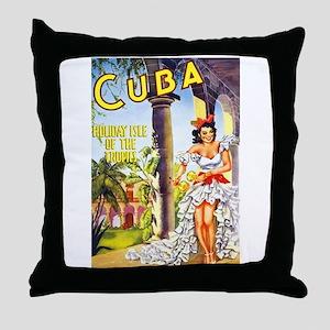 Cuba Travel Poster 1 Throw Pillow