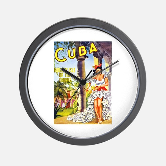 Cuba Travel Poster 1 Wall Clock