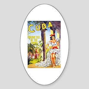 Cuba Travel Poster 1 Sticker (Oval)