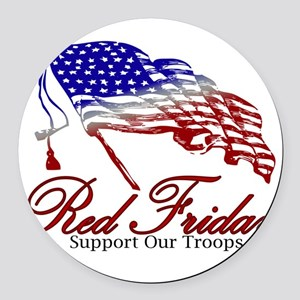 Red Friday Support Round Car Magnet