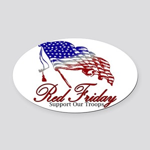 Red Friday Support Oval Car Magnet