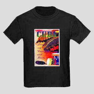 Cuba Travel Poster 3 Kids Dark T-Shirt