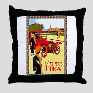 Cuba Travel Poster 10 Throw Pillow