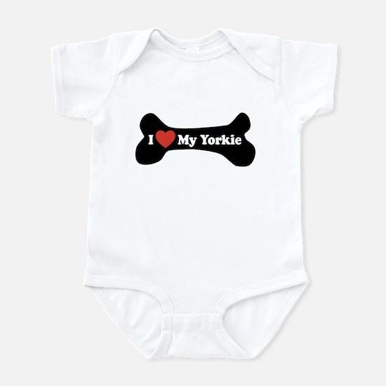 I Love My Yorkie - Dog Bone Infant Bodysuit