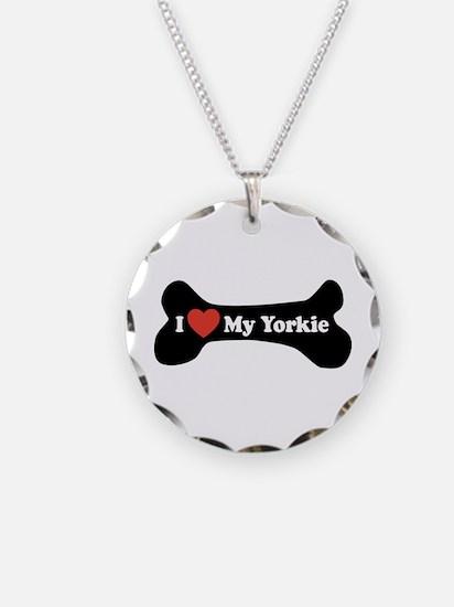 I Love My Yorkie - Dog Bone Necklace