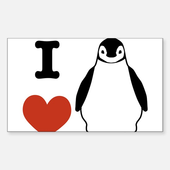 I love Penguins Sticker (Rectangle)