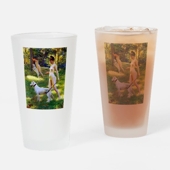 Nude Stewart Nymphs Hunting Drinking Glass