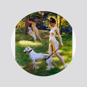 "Nude Stewart Nymphs Hunting 3.5"" Button"