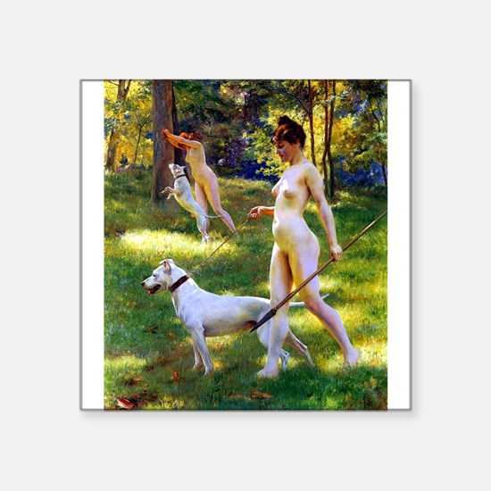 """Nude Stewart Nymphs Hunting Square Sticker 3"""" x 3"""""""