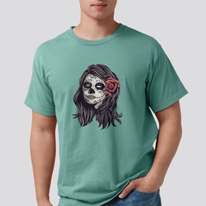 Sugar Skull Day of Dead Girl Red Rose Mens Comfort