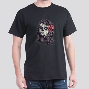 Sugar Skull Day Of Dead Girl Red Rose T-Shirt