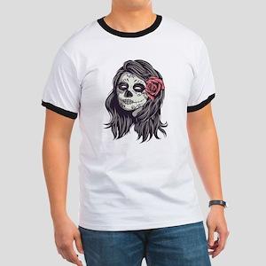 Sugar Skull Day of Dead Girl Red Rose T-Shirt