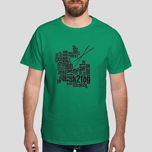 Knitting Abbreviation Cloud Dark T-Shirt
