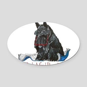 Scottish Terrier Book Oval Car Magnet