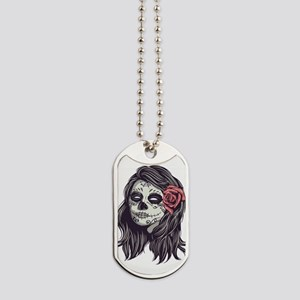 Sugar Skull Day of Dead Girl Red Rose Dog Tags
