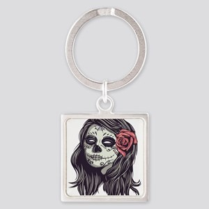 Sugar Skull Day of Dead Girl Red Rose Keychains