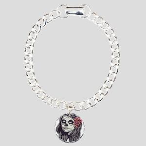 Sugar Skull Day of Dead Girl Red Rose Bracelet