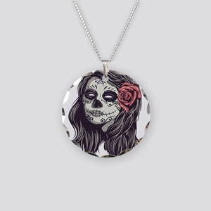 Sugar Skull Day of Dead Girl Red Rose Necklace