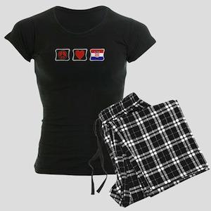 PeaceLoveCroatiaSquares Women's Dark Pajamas