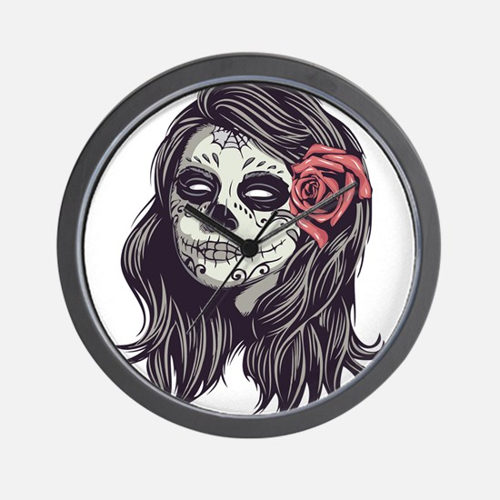 Sugar Skull Day of Dead Girl Red Rose Wall Clock