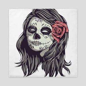 Sugar Skull Day of Dead Girl Red Rose Queen Duvet