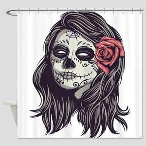 Sugar Skull Day Of Dead Girl Red Rose Shower Curta