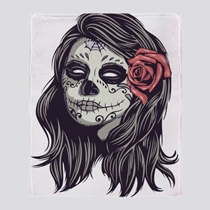 Sugar Skull Day Of Dead Girl Red Throw Blanket