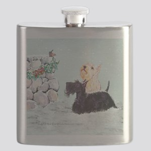 Scotties and Wren Winter Flask
