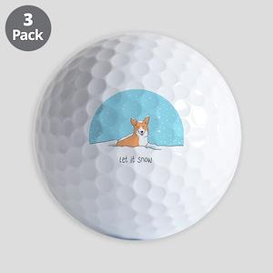 Corgi Let It Snow Golf Balls