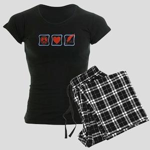 PeaceLoveWritersSquares Women's Dark Pajamas