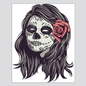 Sugar Skull Day of Dead Girl Red Rose Posters