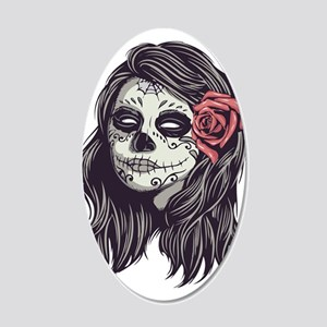 Sugar Skull Day Of Dead Girl 20x12 Oval Wall Decal