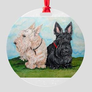 Scottish Terrier Companions Round Ornament