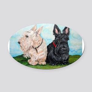 Scottish Terrier Companions Oval Car Magnet