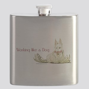 dog working mug red letters Flask