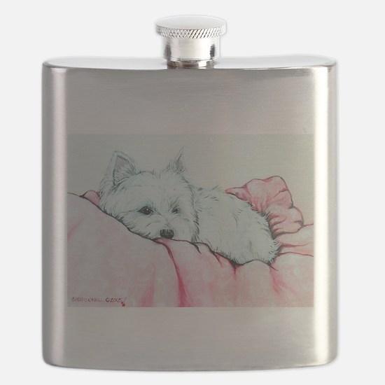 Sleepy Westie Flask
