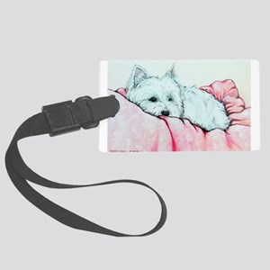 Sleepy Westie Large Luggage Tag
