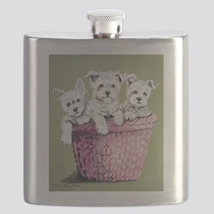 Westie puppies in a basket 10x10 Flask