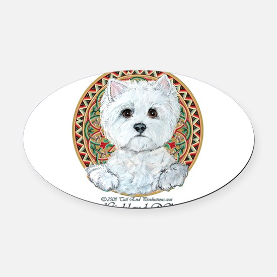 2-Westie Thirsty.png Oval Car Magnet