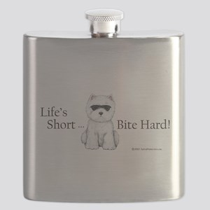 Lifes Short Bite Hard 11x9 Flask