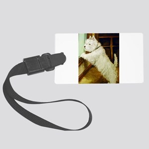 waiting squared Large Luggage Tag