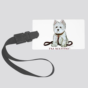 Westie waiting 9x9 2006 Large Luggage Tag
