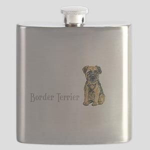 Border Terrier white mug Flask