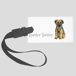 Border Terrier white mug Large Luggage Tag