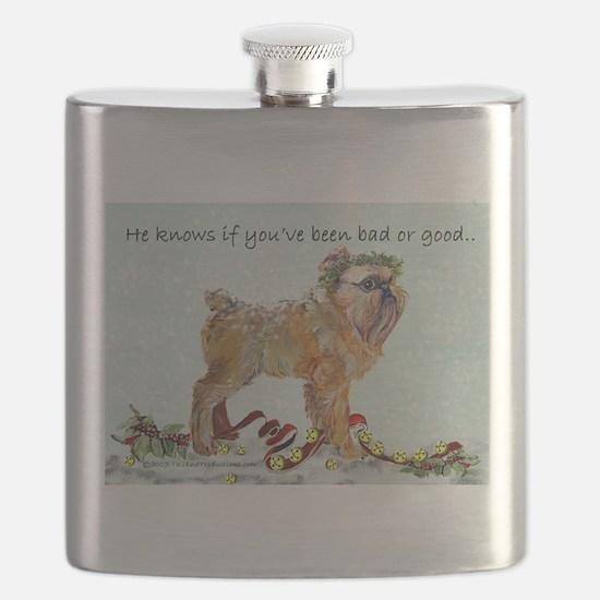 Brussels Griffon Christmas Flask