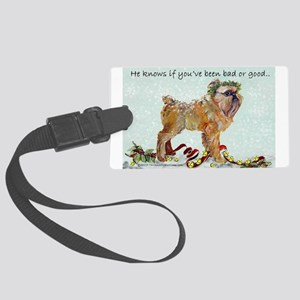 Brussels Griffon Christmas Large Luggage Tag